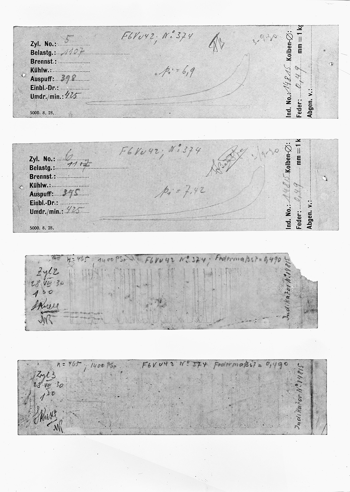 GFA 16/15178: Diagrams in the acceptance reports of GOMZY-LENINGRAD engine