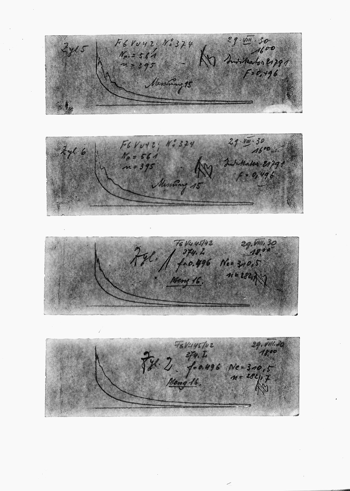 GFA 16/15184: Diagrams in the acceptance reports of GOMZY-LENINGRAD engine