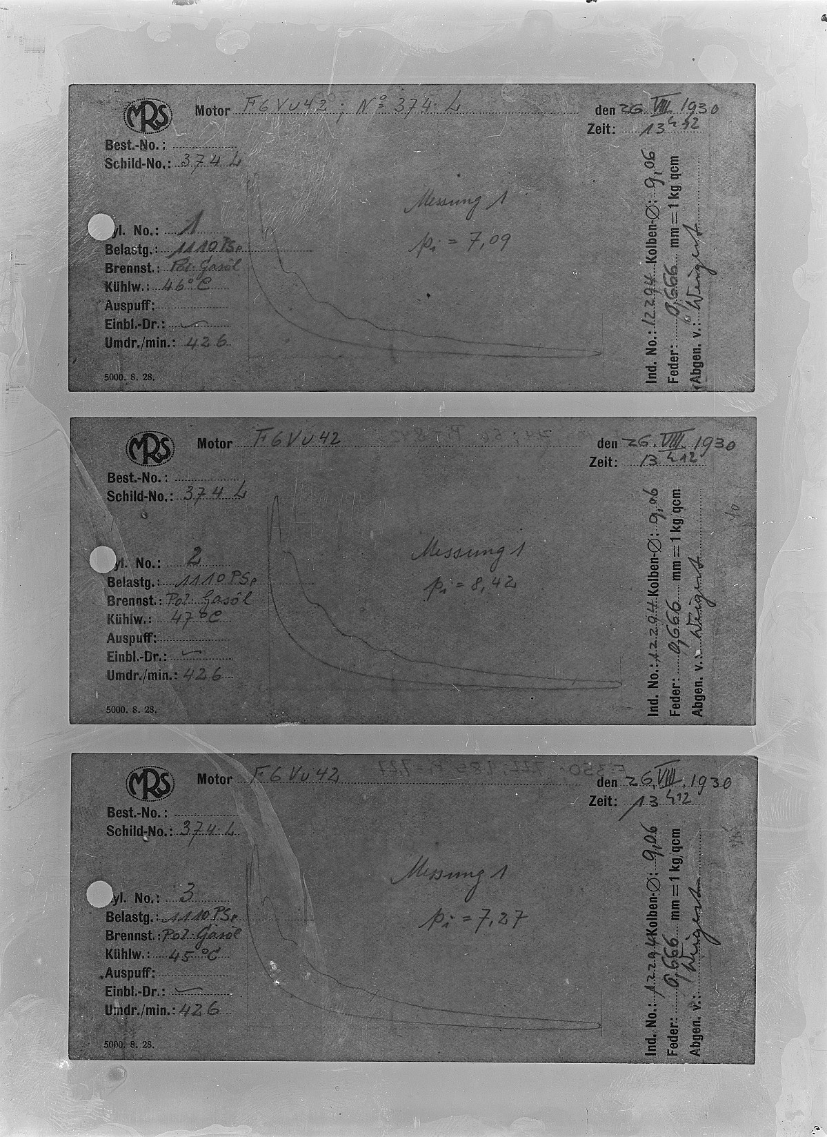 GFA 16/15187: Diagrams in the acceptance reports of GOMZY-LENINGRAD engine