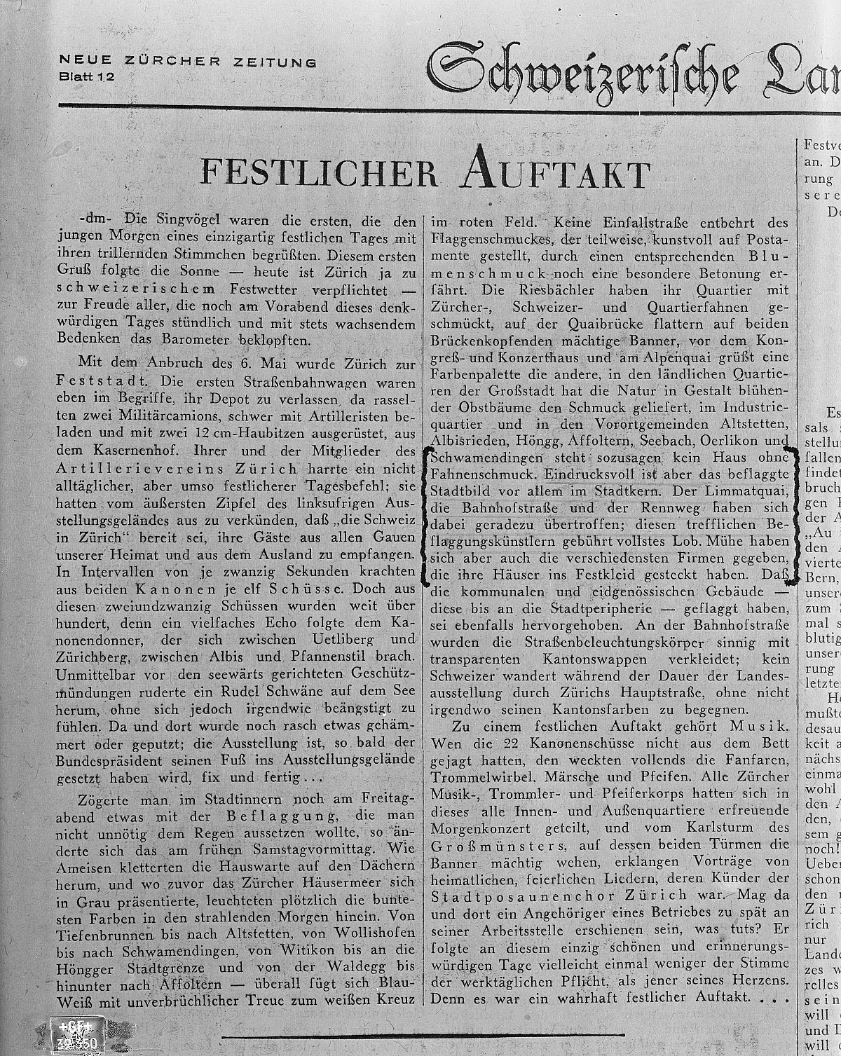 GFA 16/39350: Newspaper article about the Swiss national fair